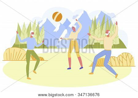 Group Of Active Seniors Playing Ball On Field Outdoors. Aged Men And Woman Having Fun In Outdoor Act