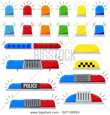 Flashers Siren Vector Icon Set Isolated On White Background. Red, Blue, Yellow, Orange, Green Color