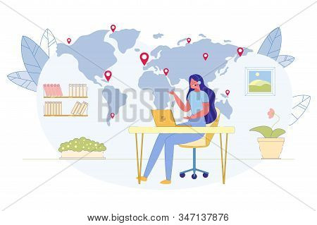 Company Clients Worldwide Support, International Customers Helpdesk, Call Center Service Flat Vector