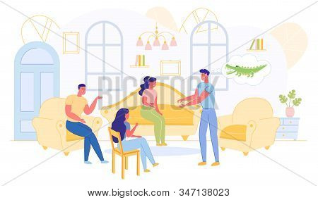 Company Playing Crocodile Game Sitting In Living Room Flat Cartoon Vector Illustration. Man Showing