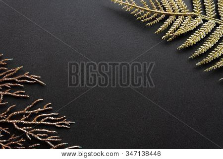 Floral Background With Golden Fern Leaves And Coral Branch