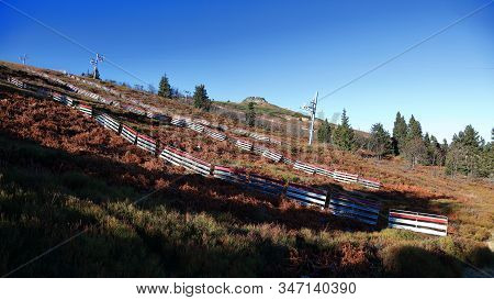 Praded Ski Slope In Summer With Famous Petrovy Kameny In The Background, Jeseniky, Czech Republic. S