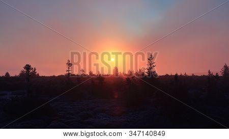 Foggy Sunrise In A Mountain Forest, Pecny (1330 M), Jeseniky, Czech Republic. November 2019