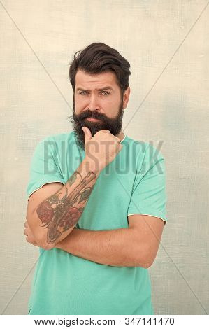 Adding Care To His Moustache. Serious Guy Wear Long Beard And Moustache. Bearded Man With Stylish Mo