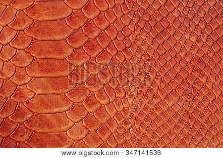 Texture Of Genuine Rough Leather Close-up, Imitation Of The Skin Of Scaly Exotic Reptile, Fashion Br