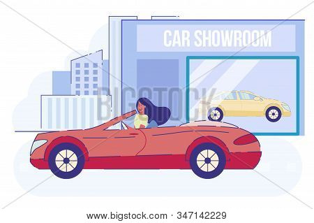 Young Woman Dweller Leaving Automobile Showroom On New Red Cabriolet Car At Summer Day. Happy Purcha