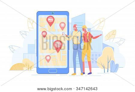 Senior Tourists Couple Searching Places In Foreign City Using Mobile Application On Smartphone. Old