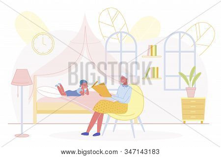 Senior Grandmother Read Fairy Tale To Baby Granddaughter Lying On Bed And Listening Story. Family Re