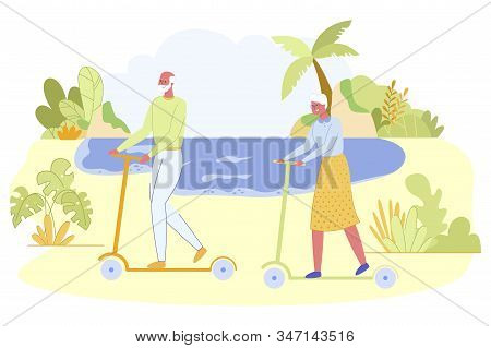 Couple Of Active Pensioner Riding Kick Push Scooters Along Seaside With Sandy Beach And Palm Trees A