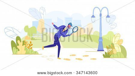 Private Investigator In Retro Hat Looking Through Magnifier Glass On Footpath Searching Evidence On