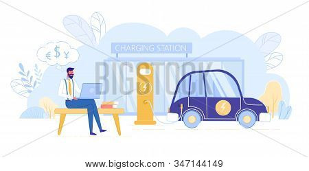 Cheerful Businessman Sitting Outdoor Near Charging Station And Waiting Recharge Energy Electric Car.