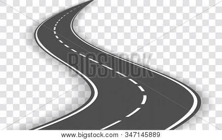 Vector Winding Road Whith Shadow  Isolated On Transparent Background. Vector Eps 10.