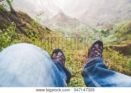 Santo Antao Island, Cape Verde. Traveler Hiker Outdoor Boots Against Impressive Verdant Xo-xo Valley