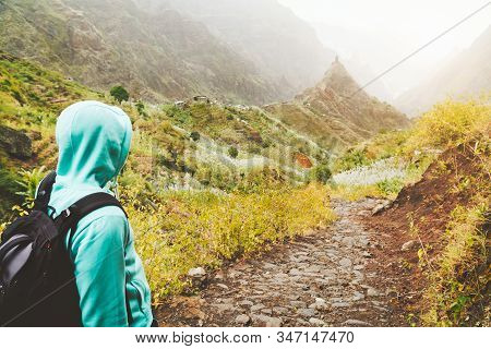 Santo Antao Island, Cape Verde. Traveler Man On Hiking Cobbled Path In Ribeira Da Torre With Epic Mo