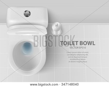 Vector 3d Realistic White Ceramic Toilet And Toilet Brush In The Bathroom, Toilet Room. Opened Toile