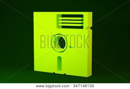 Yellow Floppy Disk In The 5.25-inch Icon Isolated On Green Background. Floppy Disk For Computer Data