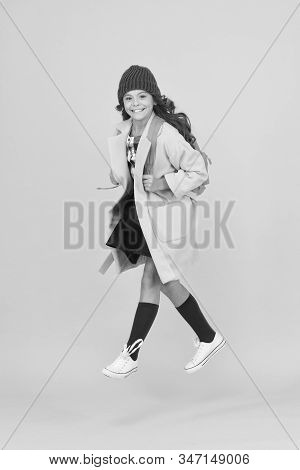 Cool Schoolgirl. Have Fun Charismatic Girl On Yellow Background. Madcap Concept. Teen Age. Girl Ador