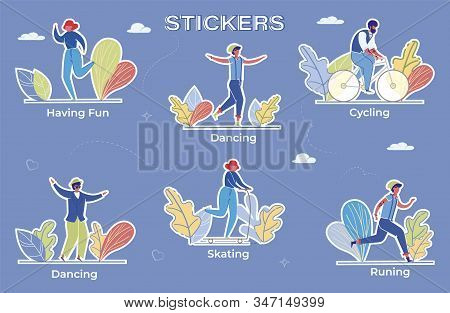 Recreational Pursuit Flat Vector Stickers Set. Active Outdoor Recreation Labels With Cartoon Charact