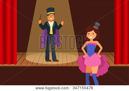 Magical Entertainment In Circus Arena Or Theater Stage Vector Illustration. People Artists Magicians