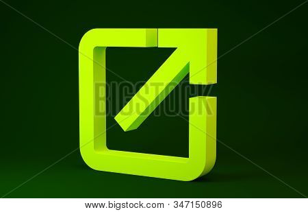 Yellow Open In New Window Icon Isolated On Green Background. Open Another Tab Button Sign. Browser F