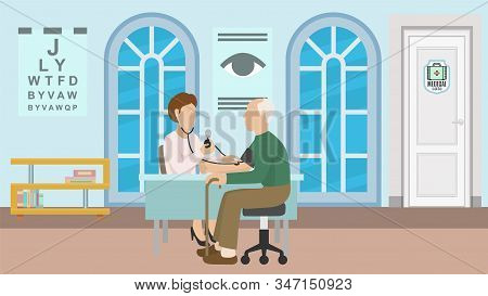 Medical Clinic, Hospital Office And Consultation Of Patient With Doctor Vector Illustration. Doctor