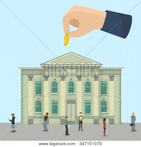 Bank Financial Business Investment Office Building And Different People Clients, Workers Vector Illu
