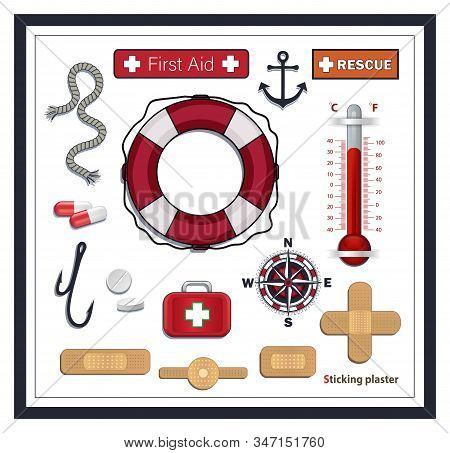 Nautical Collection Icons, First Aid And Rescue, Lifebuoy, Sticking Plaster, Compass And Medicines,