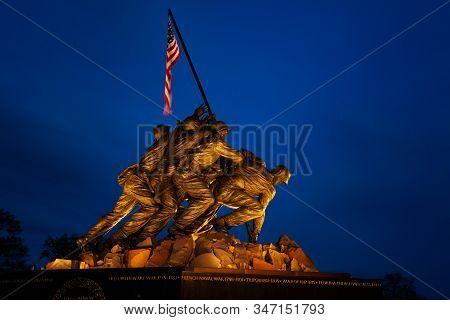 Arlington, Va - April 27, 2018: Iwo Jima Memorial In Washington. The Memorial To Honor The Marines W
