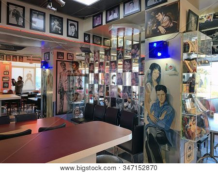 Abu Ghosh, Israel - January 11, 2020: The Interior Of The Elvis Cafe At The Gas Station Of The Villa