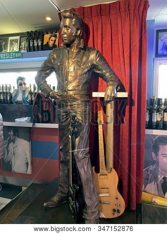 Abu Ghosh, Israel - January 11, 2020: Statue Of Elvis Presley In The Interior Of The Elvis Cafe At T
