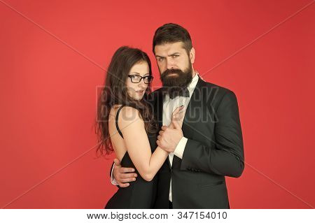 First Date. Loving Couple On Date. Boyfriend Date Sexy Girlfriend. Bearded Man Hug Sensual Woman. Co