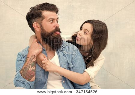 Friendly Relations. Fathers Day Concept. Lovely Father And Cute Kid. Family Hug. Father And Daughter