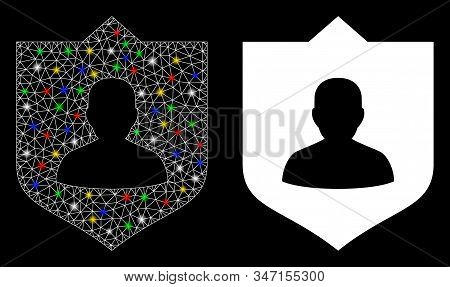 Bright Mesh Lord Shield Icon With Glow Effect. Abstract Illuminated Model Of Lord Shield. Shiny Wire