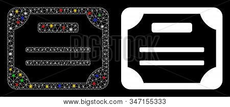 Bright Mesh License Icon With Sparkle Effect. Abstract Illuminated Model Of License. Shiny Wire Fram