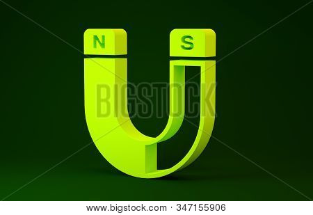 Yellow Magnet Icon Isolated On Green Background. Horseshoe Magnet, Magnetism, Magnetize, Attraction