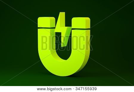 Yellow Magnet With Lightning Icon Isolated On Green Background. Horseshoe Magnet, Magnetism, Magneti