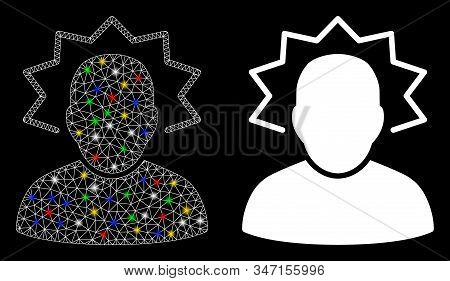 Glossy Mesh User Emergency Icon With Sparkle Effect. Abstract Illuminated Model Of User Emergency. S