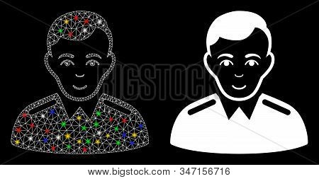 Flare Mesh Officer Icon With Glare Effect. Abstract Illuminated Model Of Officer. Shiny Wire Carcass