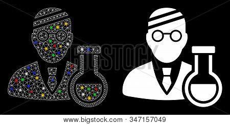 Glowing Mesh Sick Chemist Icon With Lightspot Effect. Abstract Illuminated Model Of Sick Chemist. Sh