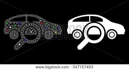 Flare Mesh Find Car Icon With Glare Effect. Abstract Illuminated Model Of Find Car. Shiny Wire Carca
