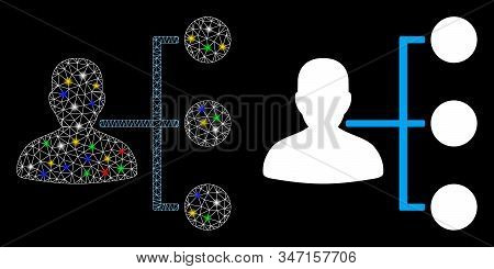 Glossy Mesh Distributor Icon With Glow Effect. Abstract Illuminated Model Of Distributor. Shiny Wire
