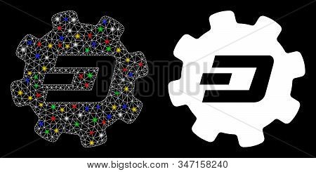 Bright Mesh Dash Setup Gear Icon With Glare Effect. Abstract Illuminated Model Of Dash Setup Gear. S