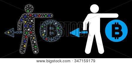 Glossy Mesh Bitcoin Miner Icon With Lightspot Effect. Abstract Illuminated Model Of Bitcoin Miner. S