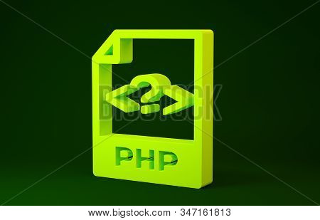 Yellow Php File Document. Download Php Button Icon Isolated On Green Background. Php File Symbol. Mi