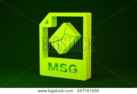Yellow Msg File Document. Download Msg Button Icon Isolated On Green Background. Msg File Symbol. Mi