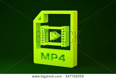 Yellow Mp4 File Document. Download Mp4 Button Icon Isolated On Green Background. Mp4 File Symbol. Mi