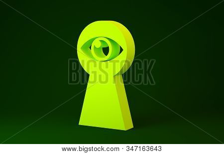 Yellow Keyhole With Eye Icon Isolated On Green Background. The Eye Looks Into The Keyhole. Keyhole E