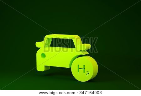 Yellow Hydrogen Car Icon Isolated On Green Background. H2 Station Sign. Hydrogen Fuel Cell Car Eco E