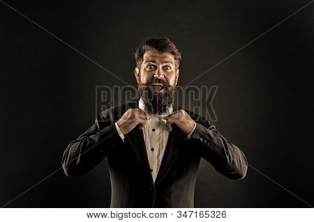 Official Event Dress Code. Classic Style. Classic Outfit. Perfect Groom. Bearded Man With Bow Tie. W