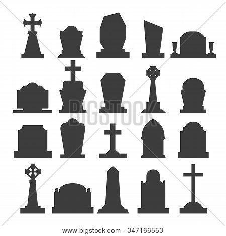 Dark Gravestone Icons. Grave Headstone Silhouettes Vector Blank Tombstones, Empty Gravestones Monume